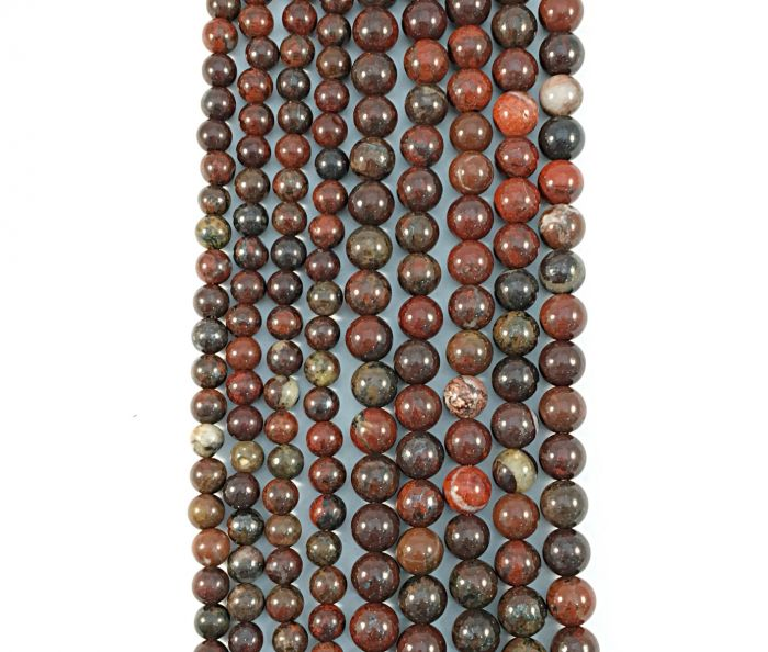 Red Blood Jasper Natural Round Gemstone Bead Strand #10-146