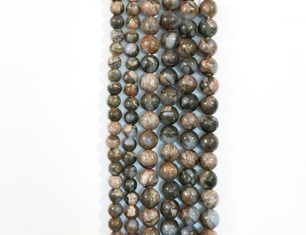 African Blue Opal Natural Round Beads #10-169
