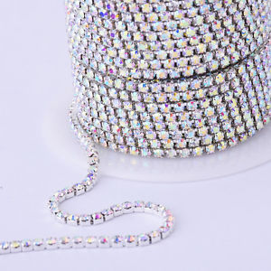 Rhinestone Cup Chain Silver Crystal AB Sold by the Yard.