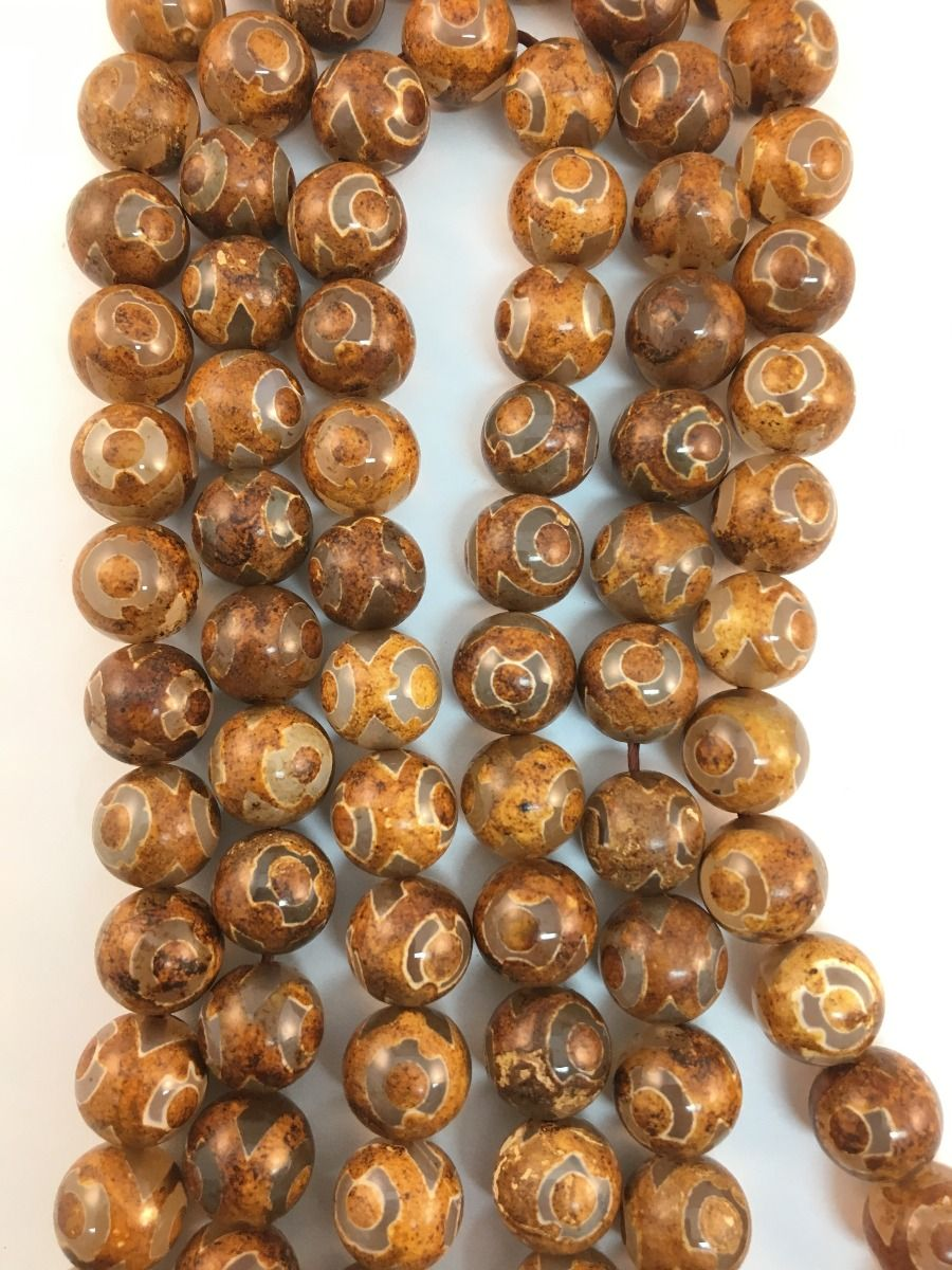 Tibetan Agate Orange Natural Stone Bead Strand #10-136