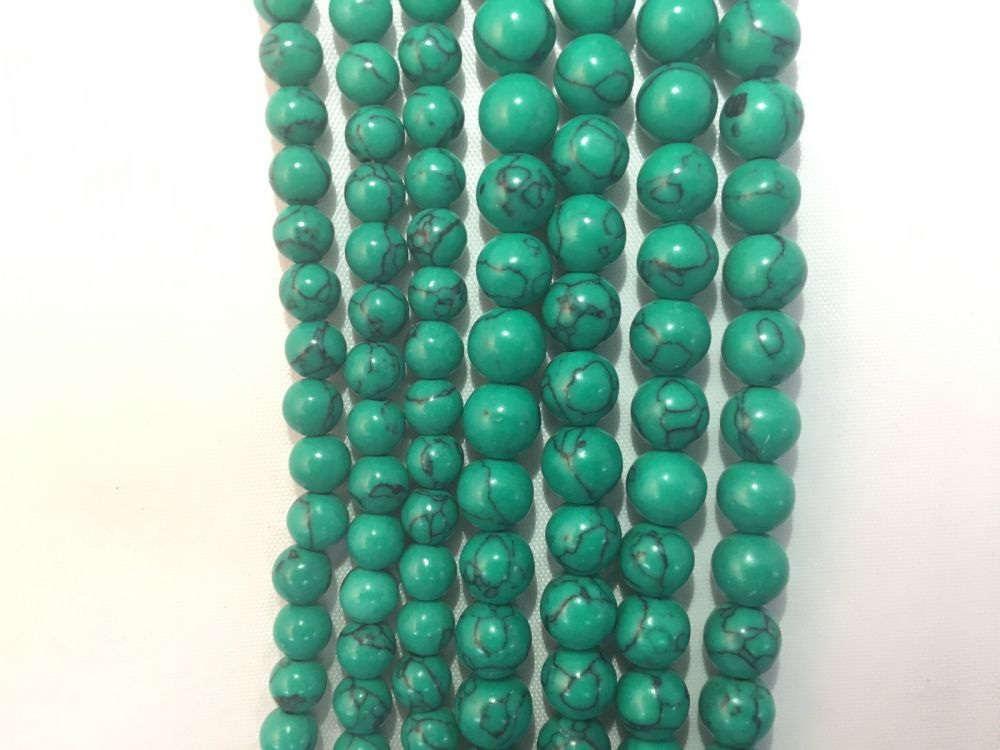 Turquoise Sea Bamboo Coral Natural Gemstone Round Beads #10-72