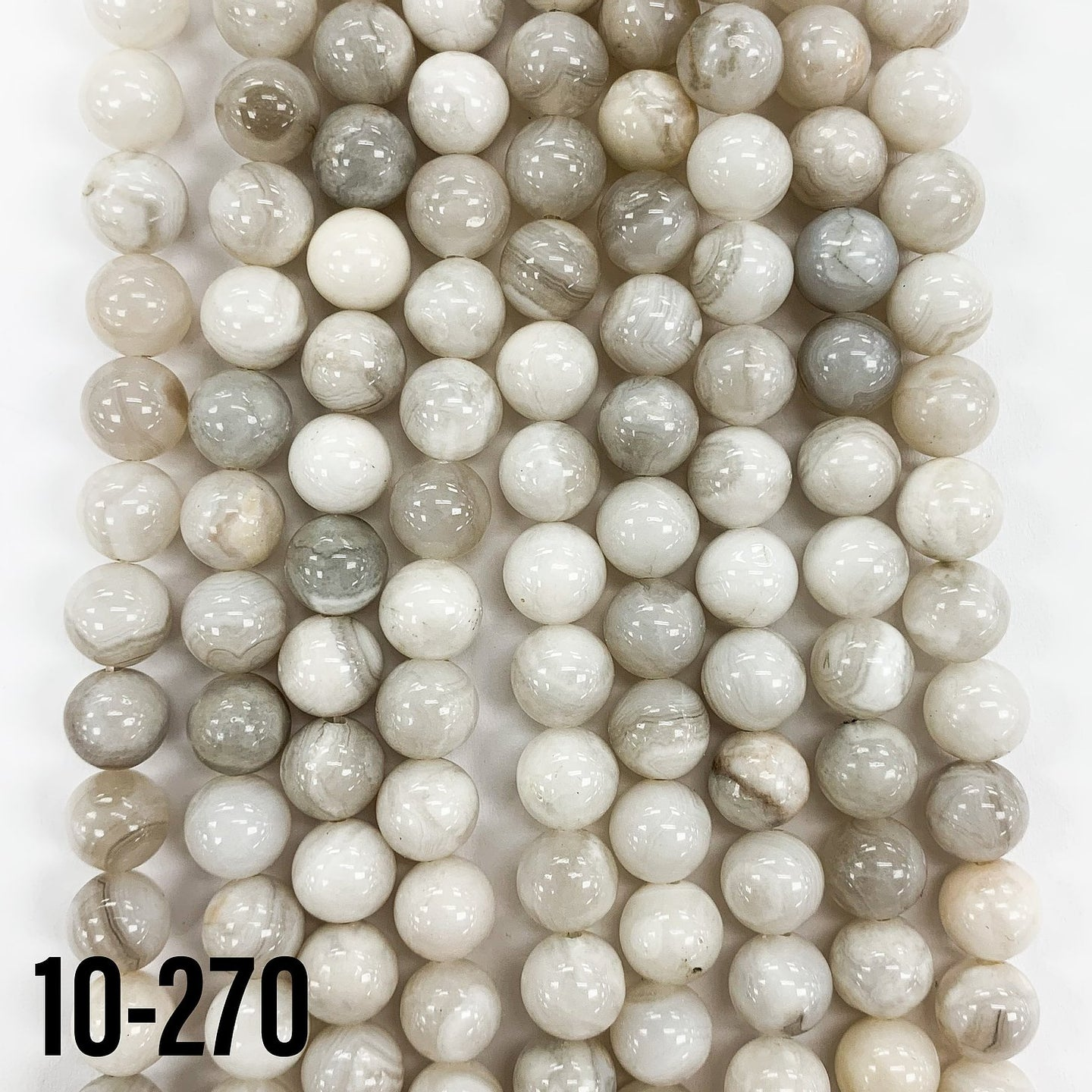 White Banded Agate Natural Round Gemstone Bead Strand 15