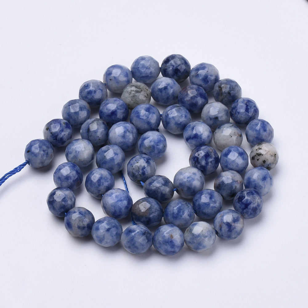 Sodalite Brazilian Facetted Natural Round Bead Strand #10-14F