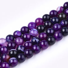 "Load image into Gallery viewer, Purple Banded Agate Natural Round Gemstone Bead Strand 15""  #10-67P"