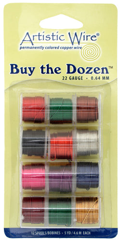 ARTISTIC WIRE, 22 GAUGE (.64 MM), BUY-THE-DOZEN, ASSORTED COLORS, 5 YD (4.5 M) EACH, 12 SPOOLS