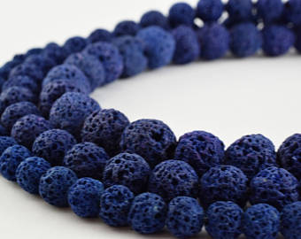 Lava Stone Blue (Dyed) Natural Stone Bead Strand #10-77