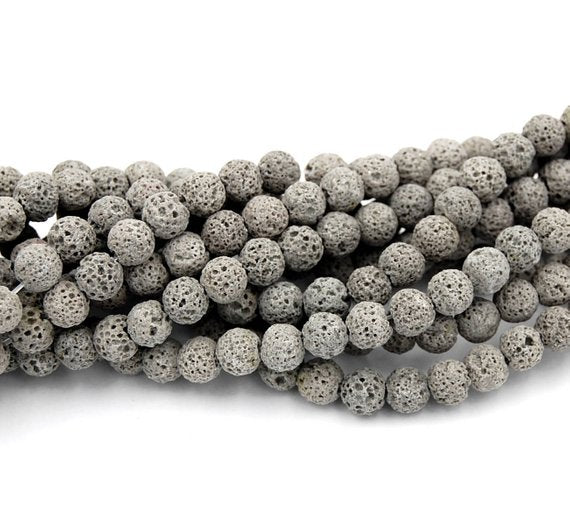 Lava Stone Grey (Dyed) Natural Stone Bead Strand #10-77