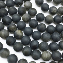 Load image into Gallery viewer, Golden Obsidian Matte Natural Gemstone Bead Strand #10-12M
