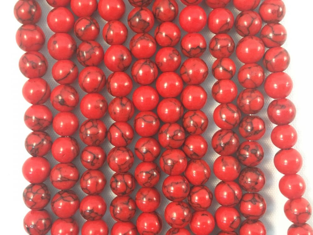 Red Sea Bamboo Coral Natural Gemstone Bead Strand #10-69