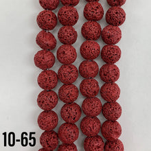 Load image into Gallery viewer, Lava Stone Red (Dyed) Natural Stone Bead Strand #10-77