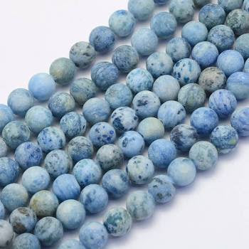 Crazy Agate Frosted Light Sky Blue Natural Gemstone Beads #9-1