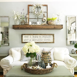 Lately we've seen an increase in popularity for rustic wall decor as a general trend, with a focus on decorations and accent pieces made of reclaimed wood
