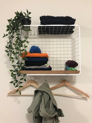 I made a modern coat rack from an IKEA wire basket
