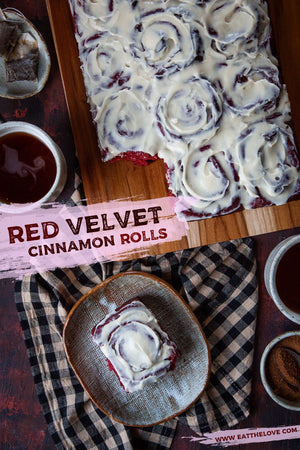 These red velvet cinnamon rolls are inspired by red velvet cake! It has a touch of cocoa in the dough and is frosted with a tangy cream cheese frosting.