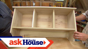 Ask This Old House general contractor Tom Silva and host Kevin O'Connor build a wall shelf for an entryway using stock poplar from a home center