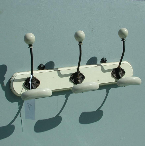 Ivory French White Double Ceramic Hook Coat Rack