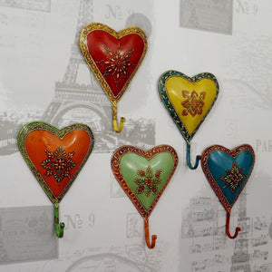 Bright hand painted set of 5 HEART Coat Hooks