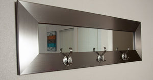 American Made BM001HK Last Look Modern Silver Framed Wall Mirror with Coat Hooks, 5 x 26.5 in.
