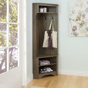 Tall Sturdy Entryway Corner Hall Tree Grey