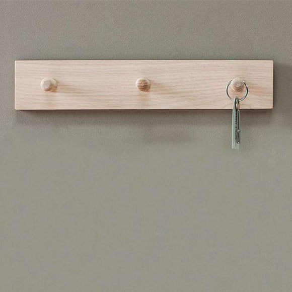 3 Wooden Peg Coat Hooks on Oak Rail