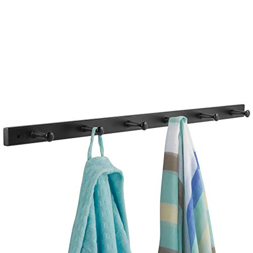 iDesign Wooden Wall Mount 6-Peg Coat Rack for Hanging Jackets, Leashes, Purses, Hats, Scarves, Bags in Mudroom, Kitchen, Office, 3.2