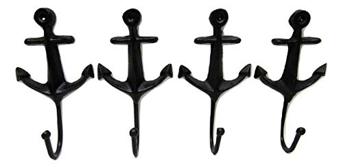 BSA Cast Iron Coat Hook Rustic Anchor Style 5 Inch Set of 4