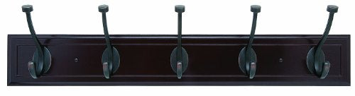 Amerock H55662-MORB 27-Inch Beveled Hook Rack, Mahogany with Oil-Rubbed Bronze Hooks