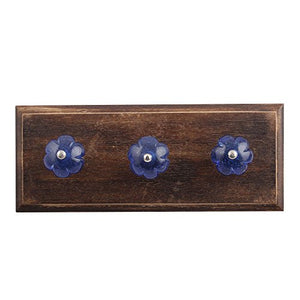 Indianshelf Handmade 1 Artistic Vintage Blue Wooden Cobalt Melon Coat Hooks Hangers/Key Holder Wall Mount