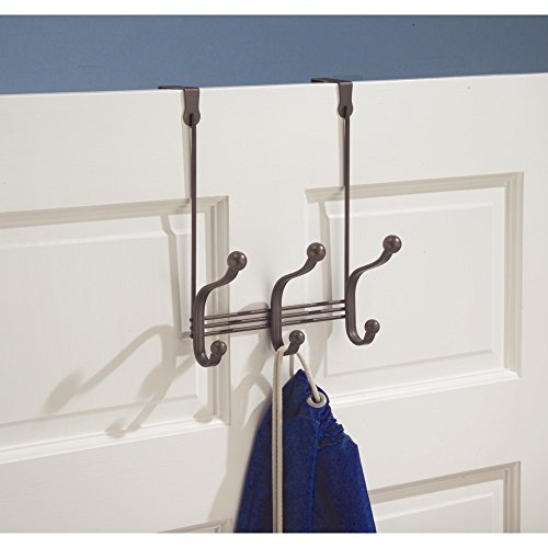 iDesign York Metal Over the Door Organizer, 3-Hook Rack for Coats, Hats, Robes, Towels, Bedroom, Closet, and Bathroom, 8.38