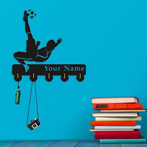 Football Goalkeeper Customize Name Creative Design Multi-Purpose Coat Clothes Wall Hook Hanger Sport Handbag Towel Bathroom Kitchen Decor Key Holder Soccer Lover Gift