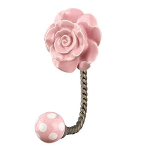 Indianshelf Handmade 1 Artistic Vintage Pink Ceramic Flower Wall Hooks Hangers/Clothes Hooks for Wall