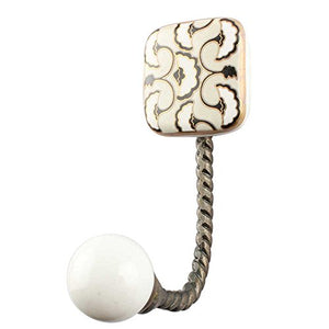 Indianshelf Handmade 1 Artistic Vintage Cream Ceramic Square Key Hooks Hangers/Wall Hooks Decorative