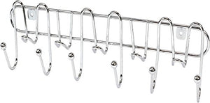 DecoBros 11 Hook Wall Mount Coat Rail Rack Hat Hook Organizer, Chrome