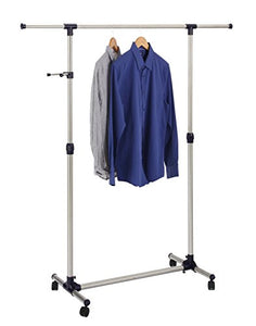 Finnhomy Single Rail Adjustable Free Standing Rolling Garment Rack Stainless Steel Clothing Portable Indoor Balcony Hanging Drying Stand Mobile Rack for Clothes Outdoor Sale Display with Caster Wheel