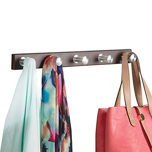 iDesign Formbu Bamboo Wall Mount 5-Peg Coat Rack for Hanging Jackets, Leashes, Purses, Hats, Scarves, Bags in Mudroom, Kitchen, Office, 18