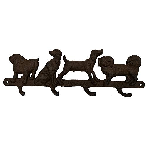Cast Iron Dogs Four Key Coat Hooks Clothes Rack Wall Hanger