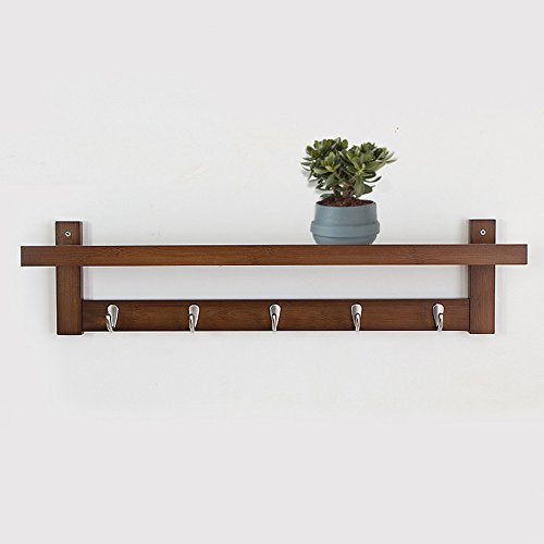 Coat Rack Bamboo Wall Mount Shelf Coat Hook Rack Unibody Construction with Alloy Hooks for Hallway Bedroom,Kitchen,Bathroom and Home Decoration,Brown,5Hook