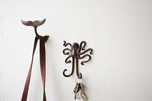 "Kalaou Cast Iron Wall- Coat Hook- Octopus- 5.5"" By 6"""