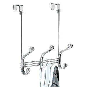 "iDesign York Metal Over the Door Organizer, 3-Hook Rack for Coats, Hats, Robes, Towels, Bedroom, Closet, and Bathroom, 8.38"" x 5.25"" x 11"", Chrome"