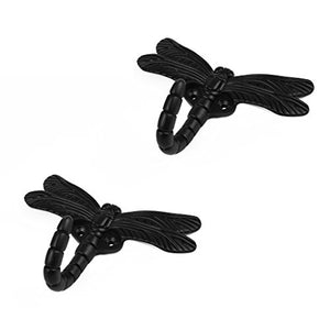 HanLingGG 2 Pack Dragonfly Wall Mounted Hanger Hooks Heavy Duty Coat Tower Hooks with Screws for Clothes, Hat, Bags, Key Perfect Halloween Decorations (Black)