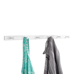 "iDesign Wooden Wall Mount 6-Peg Coat Rack for Hanging Jackets, Leashes, Purses, Hats, Scarves, Bags in Mudroom, Kitchen, Office, 32.5"" x 1.5"" x 0.75"", White"