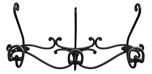 "Headbourne 8061E 16"" Over The Door Metal Hook Rail / Coat Rack with 3 Double Hooks and Black Nickel Finish"