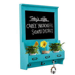 Whthteey Wooden Wall Mounted Chalkboard with Mail Sorter and Key Hooks Entryway Signboard Magazine Rack (Blue)