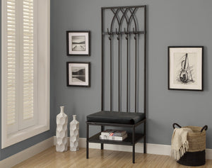 "72""H BLACK HAMMERED METAL HALL ENTRY BENCH"