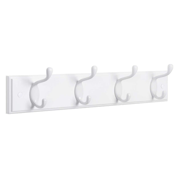 SONGMICS Wooden Wall-Mount Coat Rack with 4 Metal Hooks, 16 Inch Coat Hook Rail for Hallway Bathroom Closet Room, White ULHR23WT