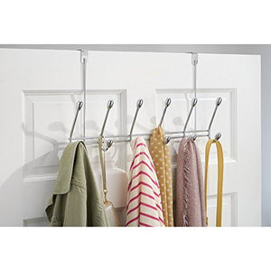 "iDesign Orbinni Metal Over the Door 6-Hook Rack for Coats, Hats, Scarves, Towels, Robes, Jackets, Purses, Leashes, 2.13"" x 18.19"" x 10.81"" - Chrome"