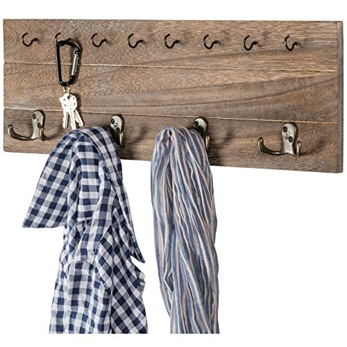 Rustic, Shabby Chic Wall Mounted Hanging Entryway Organizer. 24x8 with 4 double hooks and 9 small hooks. Coat rack, hat organizer, key holder for Entryway, Mudroom, Kitchen, Bathroom, Hallway, Foyer