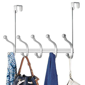 Vibrynt Decorative Over Door Hook Metal Storage Organizer Rack for Coats, Hoodies, Hats, Scarves, Purses, Leashes, Bath Towels, Robes, Men and Women Clothing