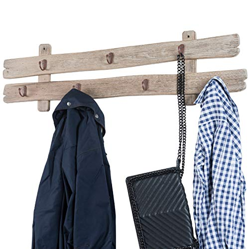 Excello Global Products Rustic Barnwood Wall Mounted Hanging Entryway Coat Rack. 38