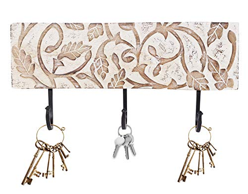 Father's Day Gift Wooden Hand Carved Wall Mounted Hanging Key Holder Decorative Showpiece Key Hook Organizer Best for Gifting and Home Decor (White Wash)
